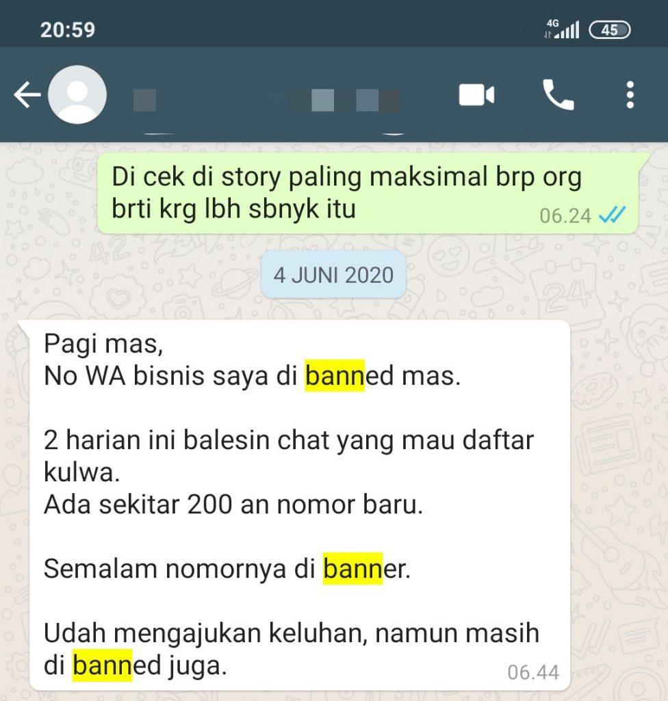nomor whatsapp di banned